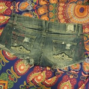 Almost Famous Crystal Paint Splat Denim Shorts